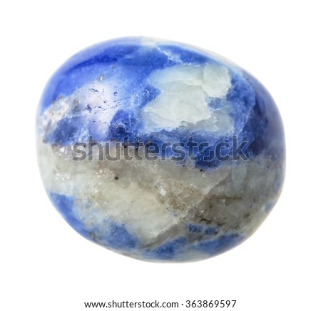 natural mineral gem stone - specimen of Sodalite gemstone isolated on white background close up