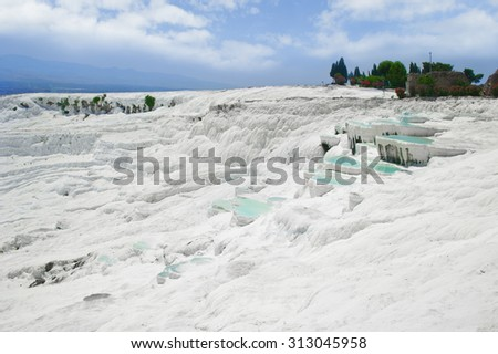 Natural mineral pools and terraces in Pamukkale, Turkey - stock photo