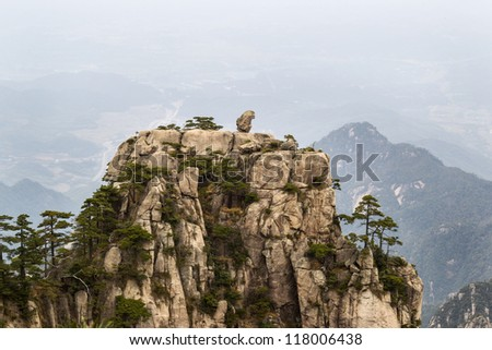 Natural Monkey Stone Statue within Yellow Mountain National Park in China - stock photo