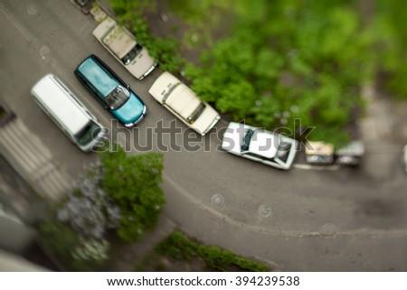 Natural (non-imitation) tilt shift blurry photo. Macro-look cityscape. - stock photo