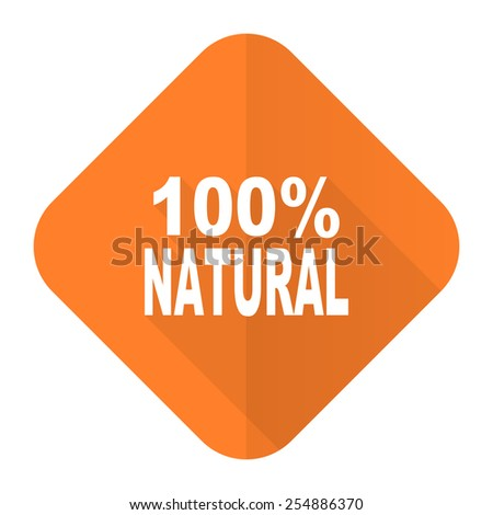 natural orange flat icon 100 percent natural sign  - stock photo