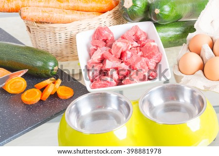 Natural, organic dog's food with ingredients zucchini, carrot and raw meat - stock photo