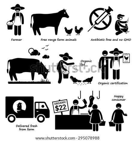 Natural Organic Food Meat Beef Chicken Poultry Stick Figure Pictogram Icons - stock photo