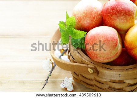 natural organic fruit peaches in the basket