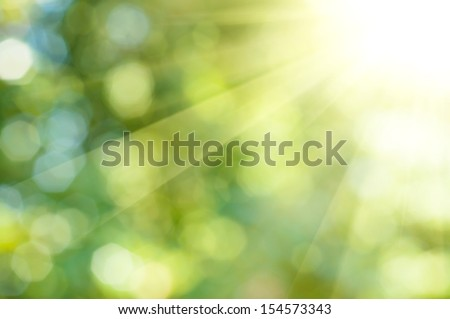 Natural outdoors bokeh background in green and yellow tones with sun rays