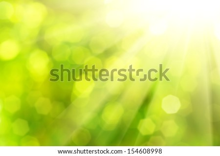 Natural outdoors bokeh  in green and yellow tones with sun rays - stock photo