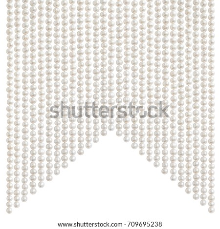 Natural pale pearl beads (necklace) hanging in a shape of dovetail (swallowtail), isolated on white