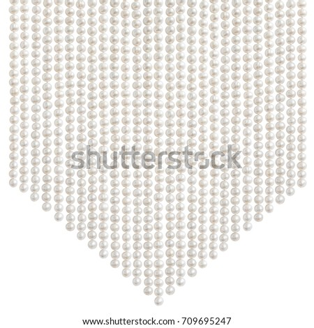 Natural pale pearl beads (necklace) hanging in a shape of downward arrow, isolated on white