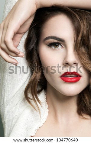 Natural photo of a beautiful young brunette woman