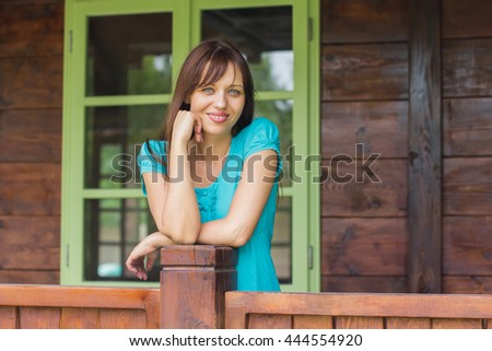 Natural Portrait of Happy caucasian female outdoor. - stock photo