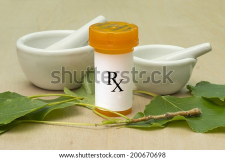 Natural prescription RX bottle with leaves and mortar and pestle. - stock photo