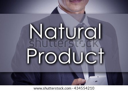 Natural Product - Young businessman with text - business concept - horizontal image