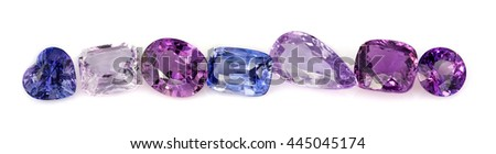 Natural Purple Sapphire gemstones - stock photo