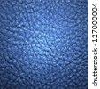 Natural qualitative blue leather texture. Close up. - stock photo