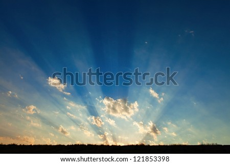 natural rays of light on sunshine - stock photo