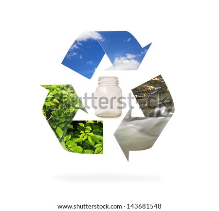 natural recycle sign on isolate background - stock photo