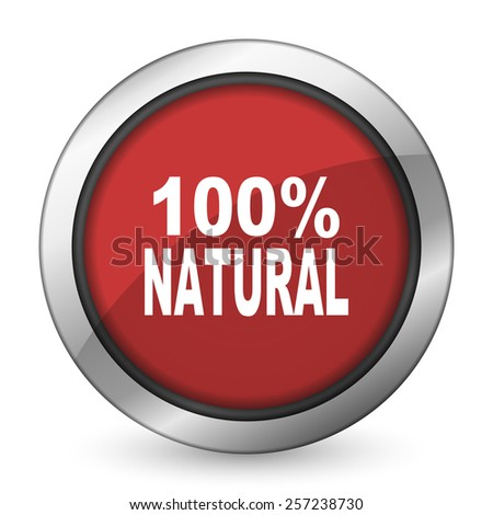 natural red icon 100 percent natural sign  - stock photo