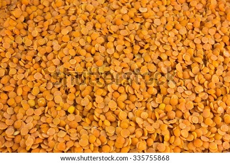 Natural red lentil background texture - stock photo