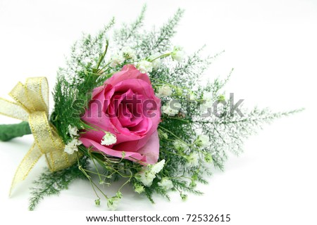natural red rose corsage for prom, valentines day , wedding day or other special event - stock photo