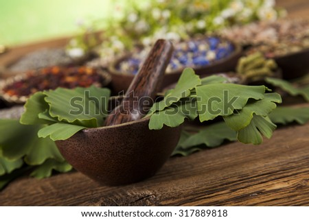 Natural remedy, Ginkgo ande wooden table background - stock photo