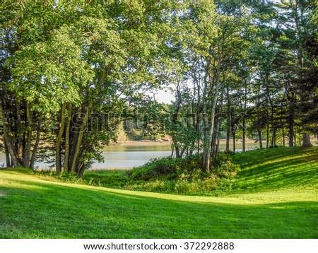 natural riverside scenery near Portland in Maine, USA - stock photo