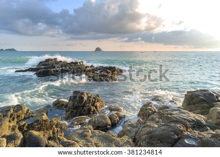 Natural rock with strong water wave at Belanak Beach, Lombok, Indonesia - stock photo