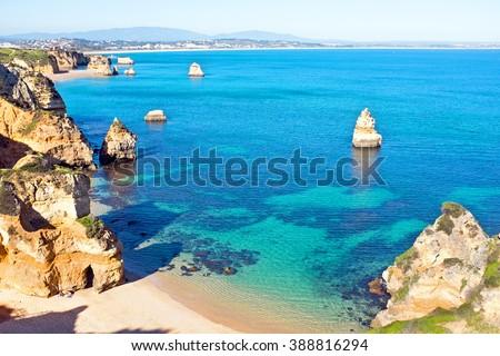 Natural rocks at Praia Do Camillo in Lagos Portugal - stock photo