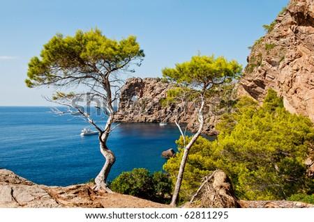 natural rocky arch  Majorca island, Spain - stock photo