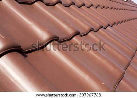 Natural roofing tiles closeup - stock photo