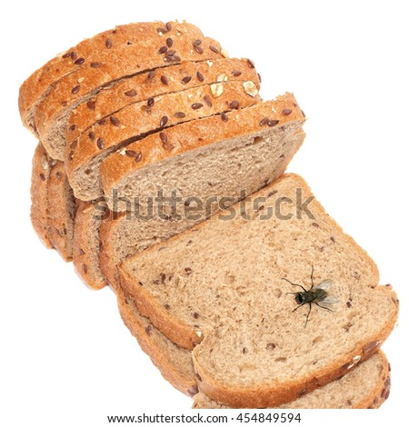 Natural rye sliced bread. Isolated on a white background - stock photo