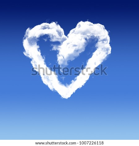 Natural shape heart in the sky with clouds