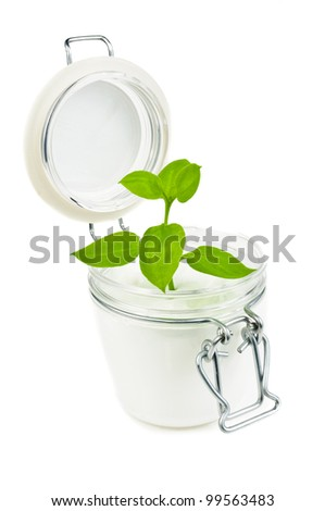 Natural skin cream. The photo on white background