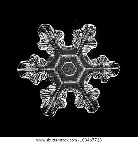 natural snowflake isolated on a black background - stock photo