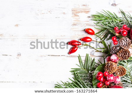 Natural snowy winter background with branches - stock photo