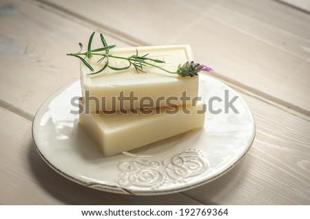natural Soap closeup.Spa products - stock photo