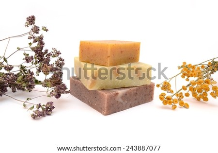 Natural soap isolated. Soap and dried flowers. Handmade soap.