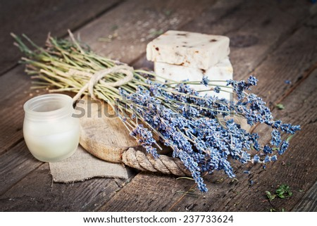 Natural soap with dried lavender - stock photo