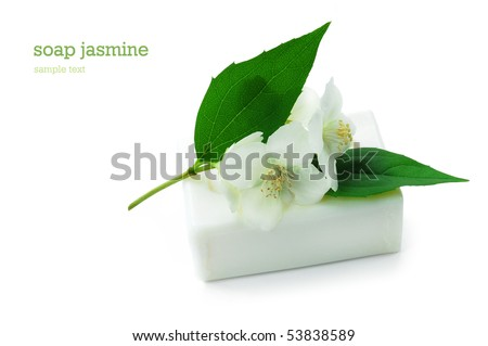 Natural  Soap with jasmine isolated on white - stock photo