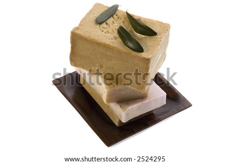 natural soaps with olive leaves