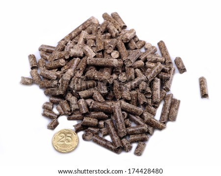 Natural source of energy in the form of wooden briquettes on a white background - stock photo