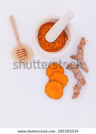 Natural Spa Ingredients turmeric and honey  for skin care. - stock photo