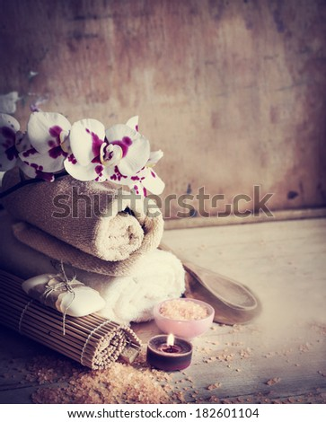 Natural spa organic products/ natural spa settings background - stock photo