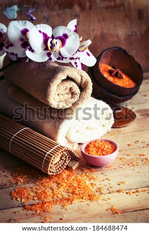 Natural spa organic products/  natural spa settings background