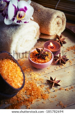 Natural spa organic products/ natural spa settings background - stock photo