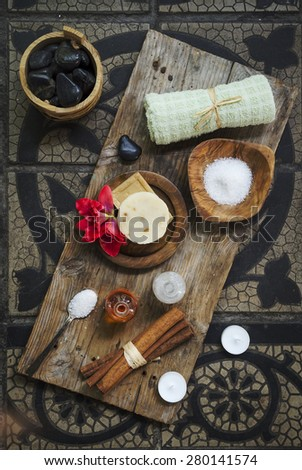 Natural spa product on rustic wood. - stock photo