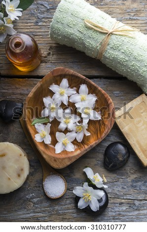 Natural spa product on rustic wood