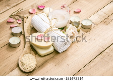 Natural Spa Treatment on Wooden Table - stock photo