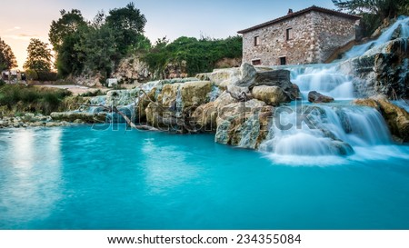 Natural spa with waterfalls in Tuscany, Italy - stock photo