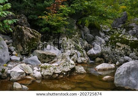 Natural spring pool creek in Northern Albania Tropja - stock photo