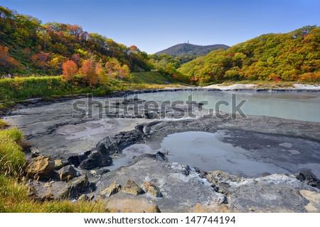 Natural springs of Oyunuma Lake in Hell Valley, Noboribetsu, Hokkaido, Japan. - stock photo